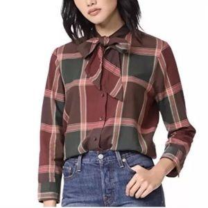 Madewell Plaid Shirt with bow